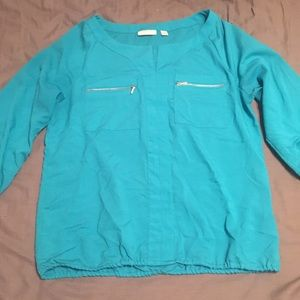 New York & Co Teal Silky Blouse